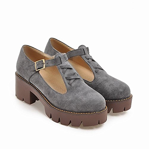 T Retro Women's Grey Shoes strap Platform Heel Mid Carolbar Court Western qP45wXxBB