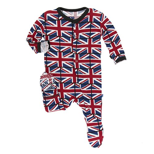 Kickee Pants Little Boys Print Footie with Snaps - Union Jack, ()