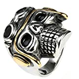 Bishilin Jewelry Men's Rings Stainless Steel Pilot Skull Head High Polished Ring Silver Size 8