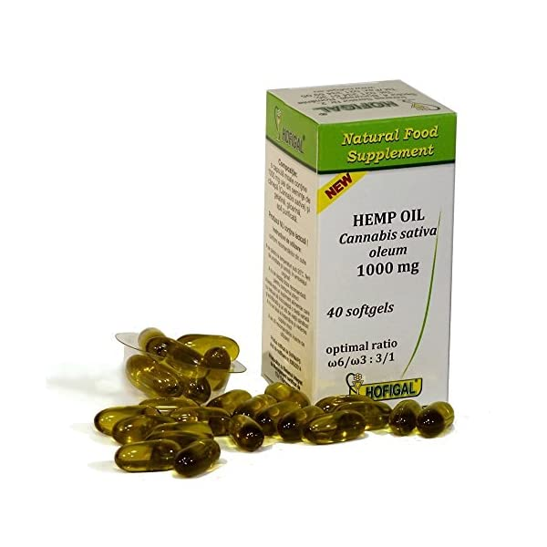 Hemp Seed Oil Softgels 1000mg | Omega 3 & Omega 6 Cold Pressed Hemp Oil | Lactose Free | High Strength Cannabis Sativa Pure Oil 40 Capsules. English Prospect and Information