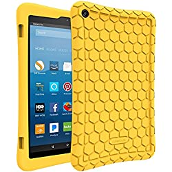 Fintie Silicone Case for All-New Amazon Fire HD 8 Tablet (7th Generation, 2017 Release) - [Honey Comb Upgraded Version] [Kid Friendly] Light Weight [Anti Slip] Shock Proof Protective Cover, Yellow