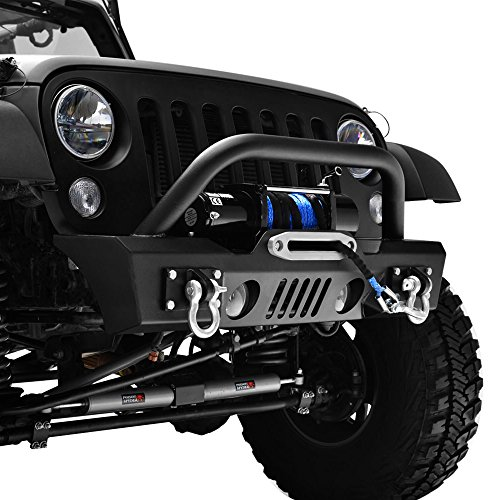 GSI Jeep Wrangler JK Black Textured Short Stubby Front Bumper With Fog Light Holes