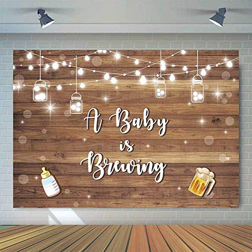 Allenjoy 7x5ft Baby Q BBQ Wood Board Boy Shower Backdrop Bottle Beer Wooden Wall A Baby is Brewing Party Background Kids Birthday Photography Cake Table Banner Photobooth Props