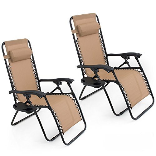Belleze Set of (2) Anti Zero Gravity Chairs w/Tray Cup Holder Rust Resistant Lightweight Patio Garden Chair, Beige (Removable Spine)