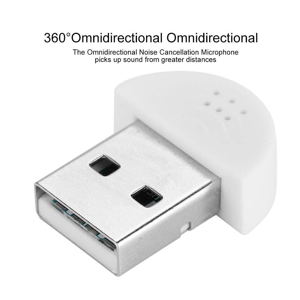 Portable Studio Speech Microphone Recording Audio MIC Adapter Super Mini USB Microphone for Computer Laptop Desktop PCs White