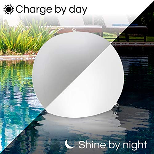 "4-PK Floating Pool Lights-12"" Globes 4 Color Settings-Solar LED Balls-Inflatable-Waterproof-Floatable and Hangable - Night Mood Lights – Sphere Decorations-Pools-Backyard-Lawn-Pathways-Parties-Events"