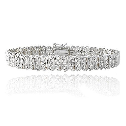 1.00ct TDW Natural Diamond S Link Tennis Bracelet in Silver Plated Brass by Jawa Fashion