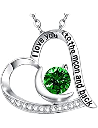 Emerald Necklace May Birthstone Fine Jewelry Heart Moon Necklace Sterling Silver Swarovski