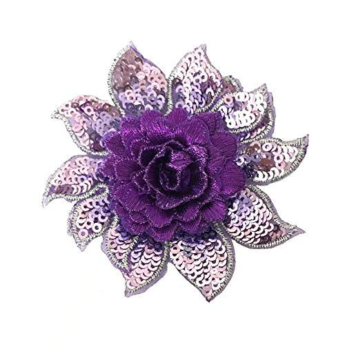 - 3D Flower Sequins Lace Applique Charming Blue/Purple / Rose red Color Embroidered Fabric Trim DIY Sewing Craft 2 Pieces 87.5cm