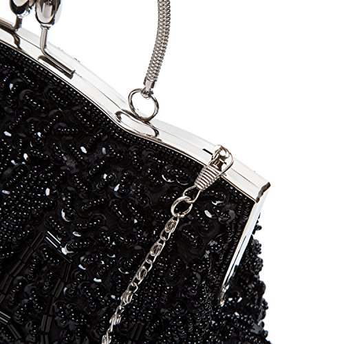 Lock Black Evening Beaded Baglamor Fashion Clutch Kissing Handbag Handbag Bag Winter Satin A4YPS