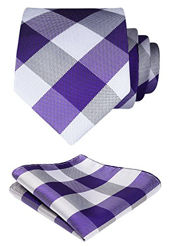 HISDERN Plaid Tie Handkerchief Woven Classic Stripe Men's Necktie & Pocket Square Set (Purple & Gray)