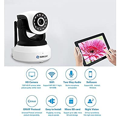 SUNLUXY H.264 720P HD Pan/Tilt WiFI Wireless Network Surveillance Camera P2P Night Version, Two-Way Audio, APP Remote Monitoring, Motion Detecting Alarm