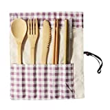 Ktyssp Portable Bamboo Cutlery Travel Eco-Friendly Fork Spoon Set Include Reusable Fork Spoon Set (C)