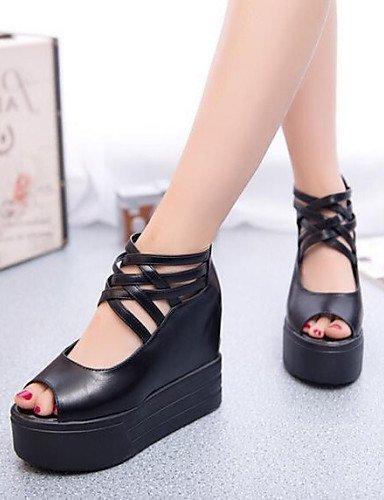ShangYi Womens Shoes Zipper Flange Hollow Out Sexy All Match Wedge Heel Comfort Sandals Dress Black