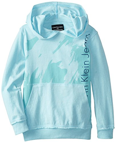 Calvin Klein Little Boys' Juxtapose Solid Printed T-Shirt Hoodie, Blue, X-Large
