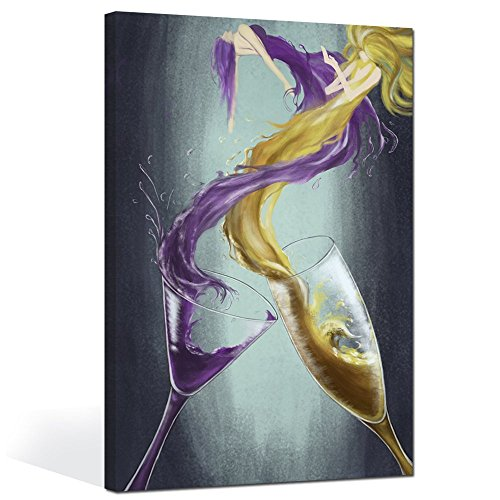 sechars - Modern Canvas Wall Art Decor Wine Abstract Paintings of Women Dance in Spilling Cocktail Champagne Art Prints for Kitchen Vintage Wine Pictures Home Wall Decorations