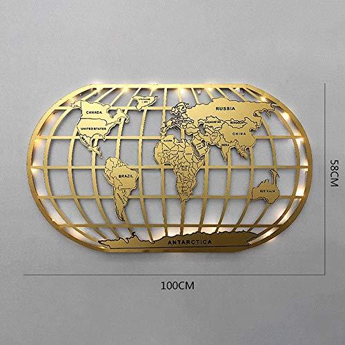 XzAJK Wall Decoration Industrial Style Wrought Iron Three-Dimensional Wall Decoration Bar Creative Wall Background Wall World Map (Color : Gold+Light)