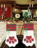 Malier Pet Cat Christmas Stocking Cat Toy Gift Set Large Paw Hanging Christmas Stocking for Cat Dog Christmas Cat Toys (15 Toys)-Red