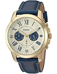 Fossil Mens FS5271 Grant Chronograph Blue Leather Watch