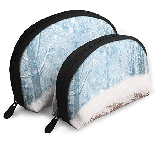 Shell Shape Makeup Bag Set Portable Purse Travel Cosmetic Pouch,Blizzard Scenery In Nature Wooden Planks Cold Freezing Morning Pine Trees Outdoors,Women Toiletry Clutch
