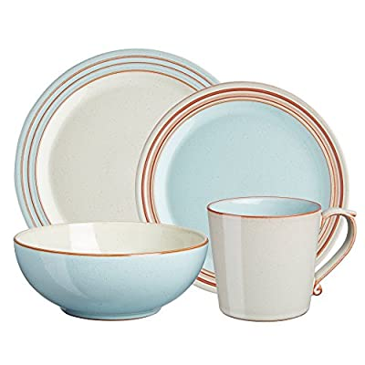 Denby USA Heritage 4 Piece Pavilion Place setting Dinnerware Set, Multicolor - Oven, microwave, freezer and dishwasher safe Made from high quality stoneware Handcrafted by skilled artisans - kitchen-tabletop, kitchen-dining-room, dinnerware-sets - 51449xjQlML. SS400  -