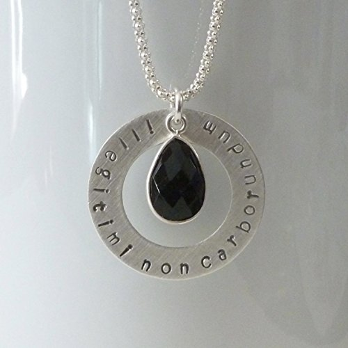 (Illegitimi Non Carborundum Hand Stamped Sterling Silver Necklace with Black Onyx)
