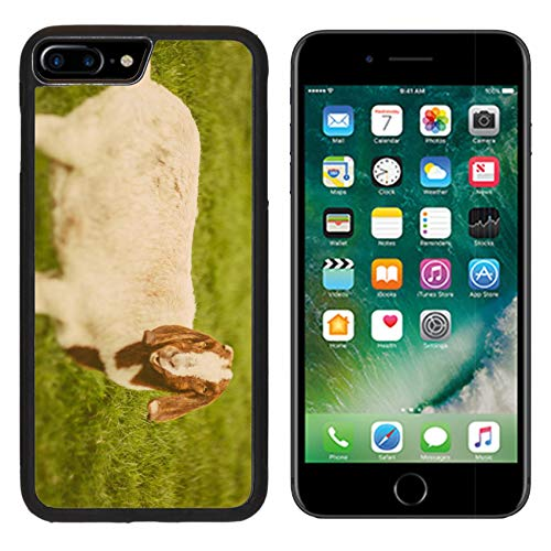 Luxlady Apple iPhone 8 Plus Case Aluminum Backplate Bumper Snap iphone8 Plus Cases Image ID: 34232218 Goat on a Green Grass as Sign of 2015 Year by Chinese Calendar Vintage t