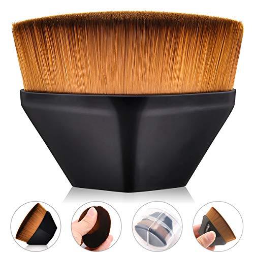 Foundation Makeup Brush with Storage Box- Flat Top Kabuki Blush Powder Brush For Blending Liquid, Cream or Flawless Powder Cosmetics