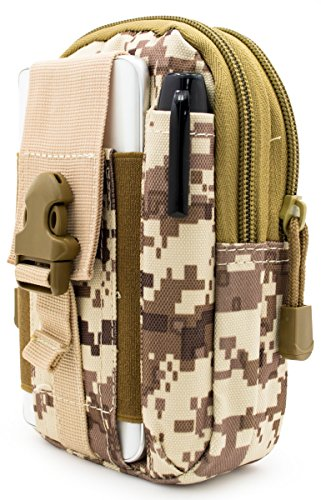 Bastex Universal Multipurpose Tactical Cover Smartphone Tan Camo Holster EDC Security Pack Carry Case Pouch Belt Waist Bag Gadget Money Pocket for iPhone 6s Samsung Galaxy S7 Note5 LG G5 iPhone 7 (Tan Belt Holster)
