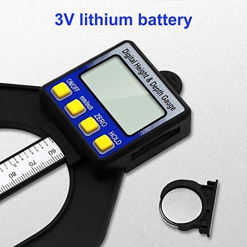 Blau /& Schwarz 0-80 MM LCD Digitaler Tiefenmesser Holzmessschieber H/öhenmesswerkzeuge Magnetische Selbststehende Blende