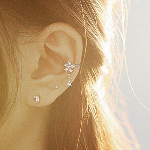 S925 Sterling Silver Non Piercing Ear Clip Earrings CZ Flower Dangle Cuff Earrings(1Paris) by Amkaka (Image #5)