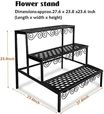 Tiered Plant Stand Outdoor Metal 3 Tier Stands For Multiple Plants Ladder Potted Indoor Shelf Holder Rack Amazon Sg Home