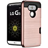 LG G5 Case, [Card Slot] Fosmon HYBO-SLOT Slim Hybrid Hard Cover [Shock Absorbent | Card Holder] Wallet Case for LG G5 (Rose Gold)