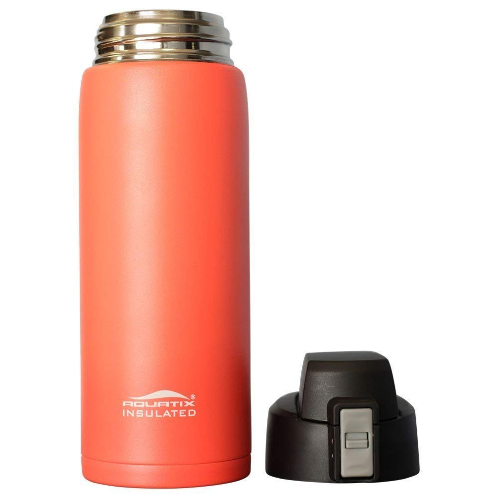Pure Stainless Steel Double Wall Vacuum Insulated Sports Water Bottle with Convenient Flip Top Hot for 6 Hours Aquatix Bright Pop Orange, 21 Ounce Keeps Drinks Cold for 24 Hours