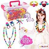 Conleke Pop Snap Beads Set 520Pcs for Kids Toddlers- DIY Bead Toys Made Jewelry Necklaces Bracelets Rings Crafts- Ideal Christmas Birthday Gifts for Girls (Multicolored,a Unicorn Hairpin Included)