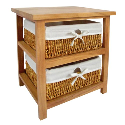 Natural Maize Storage Basket - Premier Housewares Wooden Storage Unit With 2 Maize Baskets, Natural, 45 x 40 x
