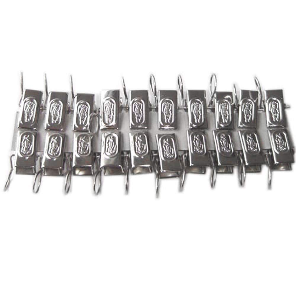 FIged Home Improvement Tools 20-Pcs-Metal-Stainless-Steel-Window-Shower-Curtain-Rod-Clip-Rings-Drapery-Clips