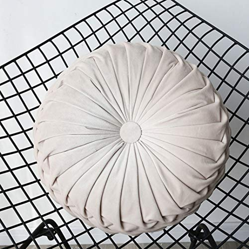 Pure Color Round Wheel Cotton Cushion Luxury Handmade Plicated Pumpkin Seat Cushion Home Decor Sofa Throw Pillow