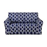 Deconovo Wave Line Print Sofa Slipcover Spandex Stretch Strapless Loveseat Cover for Couch Navy Blue
