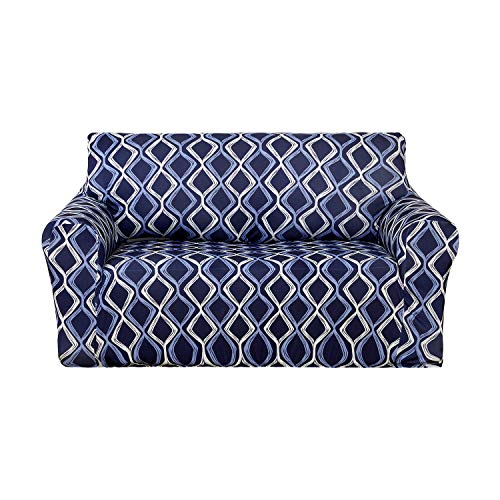 Deconovo Wave Line Print Sofa Slipcover Spandex Stretch Strapless Loveseat Cover for Couch Navy Blue by Deconovo