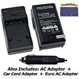 Nikon D50 Digital Camera Battery Charger (110/220v with Car & EU adapters) - UltraPro Replacement Charger for Nikon EN-EL3, ENEL3a and ENEL3e Battery