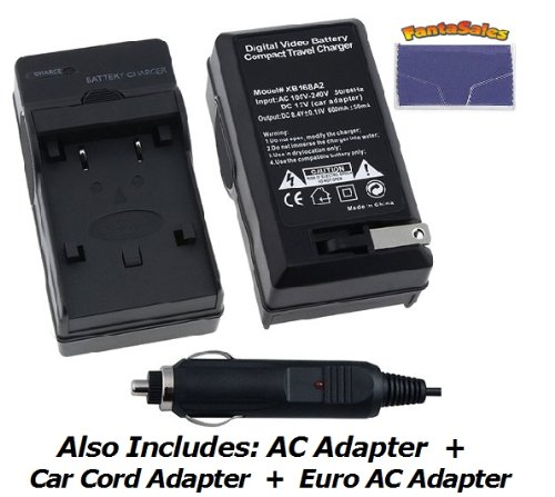 UltraPro Replacement AC/DC Battery Charger 110/220v with Auto & EU adapters for Canon BP-2L, BP-2LH, BP-2L5, BP-2L12, BP-2L13, BP-2L14, BP-2L24, BP-2L24H, NB-2L, NB-2LH