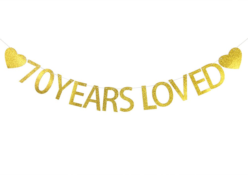 Lovely BITON Gold 70 Years Loved Letters Banner Decoration Kit Themed Party Banner for Birthday Wedding Showers Photo Props Window Decor