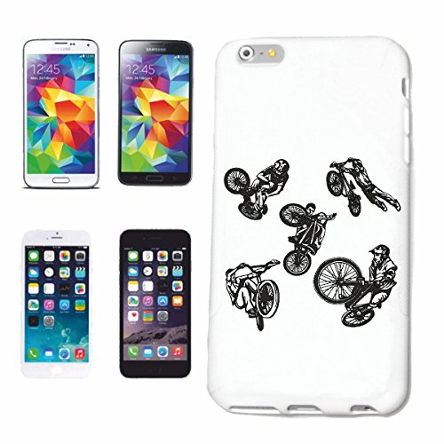 """cas de téléphone iPhone 6+ Plus """"BMX VÉLO STREET FREESTYLE MOTOCROSS BIKE FREESTYLE Chopper MOUNTAINBIKE"""" Hard Case Cover Téléphone Covers Smart Cover pour Apple iPhone en blanc"""