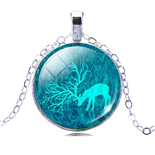 Cabochon Chain Necklace (Vintage Silver Chain Glass Cabochon Necklace Blue Deer Pendant Necklace)