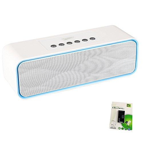 Portable Bluetooth Stereo Speaker, with 2x5W Acoustic Drivers, FM Radio, Handsfree Speakerphone, Micro SD Card, USB and AUX-In Slots (Upgraded Version)