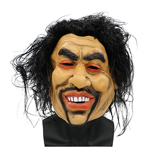 Halloween Face Mask cos Madman Male Long Hair Smiley Mask Wig Horror Funny Party -