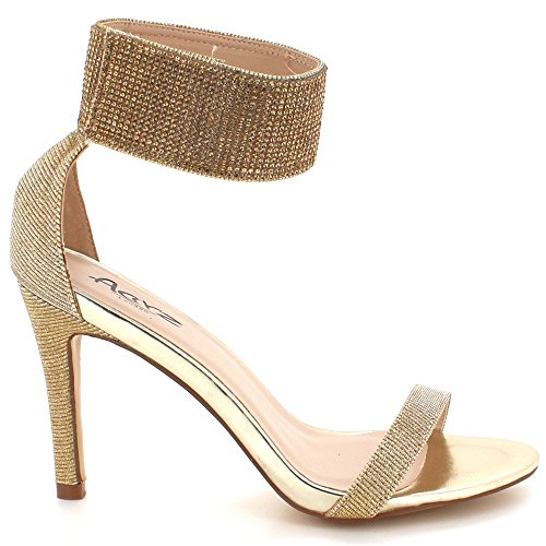 AARZ LONDON Womens Ladies Crystal Diamante Evening Wedding Party Prom Gladiator High Heel Sandal Shoes Size Gold 8eiLky8QS