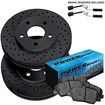 Rear Black Hart Drilled Slotted Brake Rotors and Ceramic Pads CL550,S400,S550