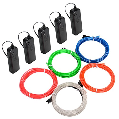 Litake EL Wire Kit,  9.82ft Multi-colored Neon Rope Lights, Portable Battery Operated with 3 Modes for Cosplay Dress Festival Halloween Christmas Party DIY Decoration (Light Led Purge)